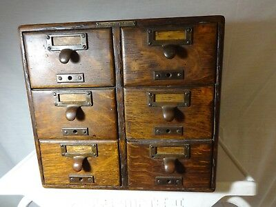 Antique 6-Drawer Card File Quarter Sawn Oak Jewelry/Coins/Stamps Library Bur. Ma