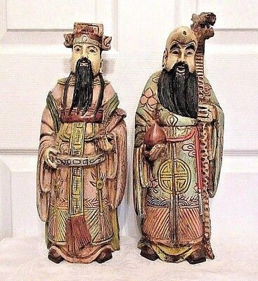 Two Large Antique Chinese Hand Carved Poly-Chrome Wood Sculptures / Deity Gods