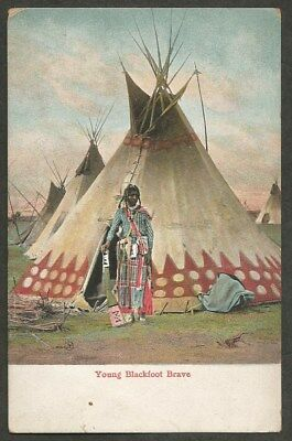 Young Blackfoot Brave Indian Native American Teepee Tipi Early Postcard