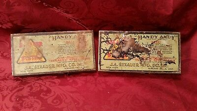 Vintage Lot of 2 Handy Andy Sexauer System Tin Container with Compression Assort