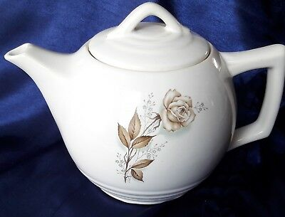Vintage Mc Coy Pottery Teapot With Brown Rose