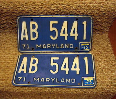 Pair of 1975 Maryland license plates