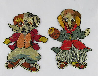Old Embroidered Needlework Patches Sew On Embellishments Mr&Mrs Dog Ice Skating
