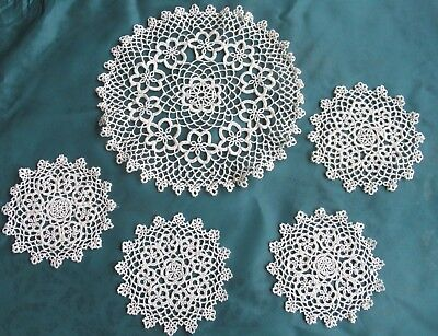 Vintage TATTED DOILY SET 1 large, 4 matching small doilies off-white cotton VGC