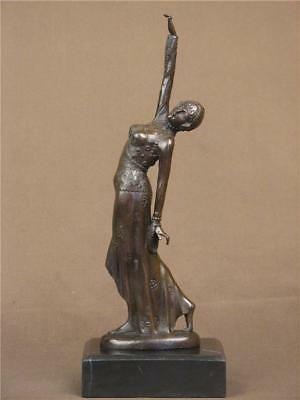 Bronze Statue Art Deco Exotic Dancer Highly Detailed Sculpture On Marble