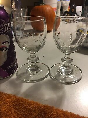 Pair Of Antique Flint Glass Early Blown Cordials Colonial