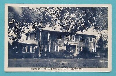 Home of Mayor Mathis, Leland, Mississippi 1953 Postmark