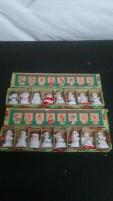 Vintage Commodore Christmas Card Place Settings Figurines 2 sets