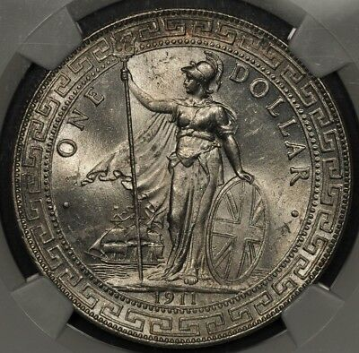 1911-B Ngc Ms64 Great Britain Trade Dollar T$1
