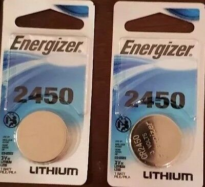 LOT of 2 Energizer Lithium CR2450 2450 ECR2450 3V Coin Cell Batteries remote