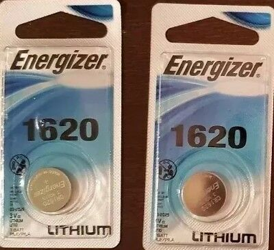 Lot of 2 Energizer CR1620 Lithium 3V Coin Cell Battery Retail Packaging 1620