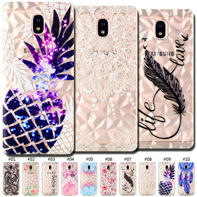 Silicone Clear Pattern Back Rubber Soft TPU Diamond Skin Case Cover For Samsung