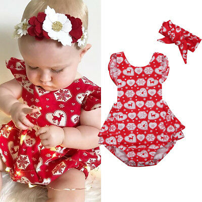AU Christmas Newborn Baby Girl Romper Bodysuit Jumpsuit Headband Outfit Clothes
