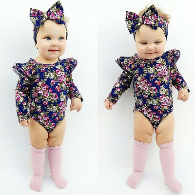AU Newborn Toddler Baby Girls Outfits Floral Romper Jumpsuit 2Pcs Clothes