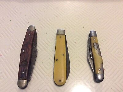 3 X Mixed Vintage Pocket Knife For Parts Or Repair