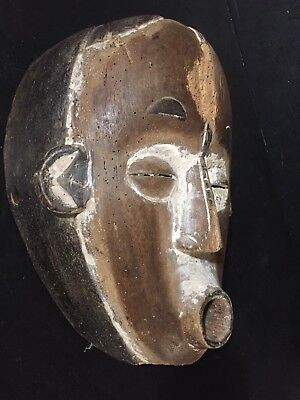 Antique IGBO AGIRIGA Mask white from Nigeria Tribal art African 11.5 carved VTG