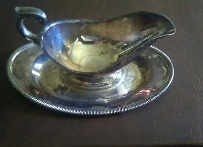 Silver plate Crescent 3358 RS Gravy Bowl attached under plate
