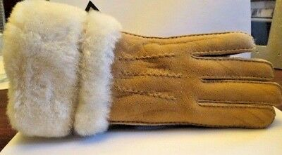 510b555e0359b UGG CHESTNUT TOSCANA 3 Point Suede Shearling Handsewn Winter Gloves ...