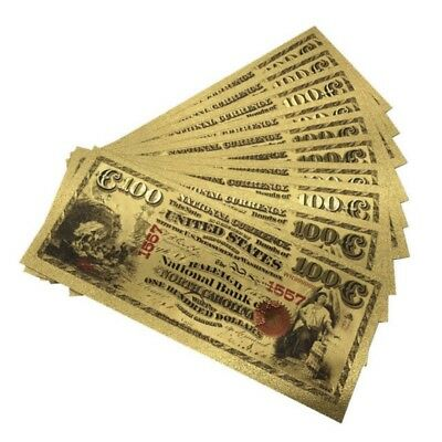 1875 US $1/2/5/10/20/50/100/1000 Dollar Banknote Colored Bill Gold Foil Crafts