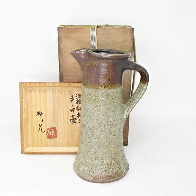 G857: Japanese pitcher of FUJINA pottery by famous Kenji Funaki with signed box