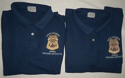 2- VTG Alexandria Police Department Firearms Instructor Polo Shirt Obsolete MED