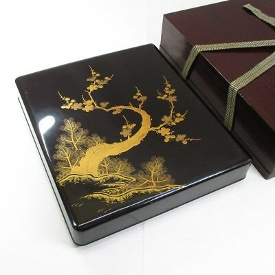 G568: Real old Japanese lacquered inkstone case with good MAKIE and gold NASHIJI
