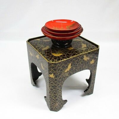 G571: Real Japanese old lacquered triplet SAKE cup on stand with wonderful MAKIE