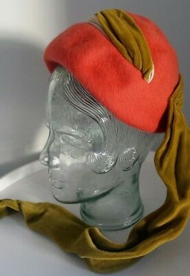Vintage Stella Long 60's cloche turban style felt hat with scarf