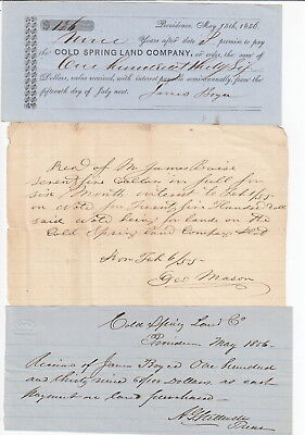 1856 Providence  Rhode Island - Cold Spring Land Company Documents (3)
