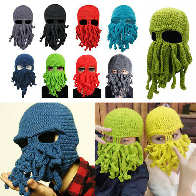 86bc0b1b559a4 Wind Tentacle Octopus Cthulhu Hat Ski Face Mask Novelty Unisex Knit Beanie  Cap