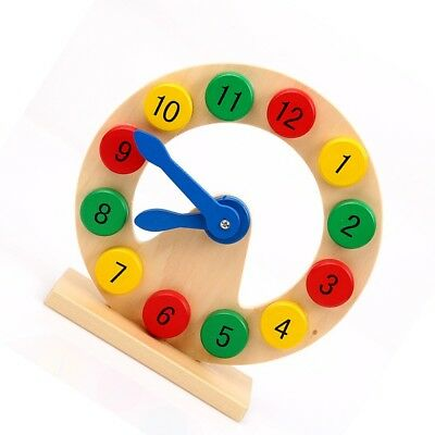Intellectual Baby Kids Early Learning Educational Toy Funny Wooden  Clock Gifts