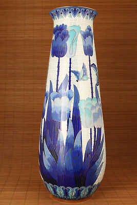 Ancient chinese old Cloisonne Hand Painting tulip Rare Statue Vase home decorati