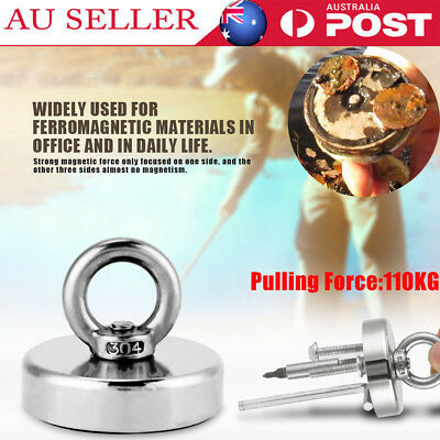 110Kg Salvage Strong Recovery Magnet Neodymium Hook Treasure Hunting Fishing AU