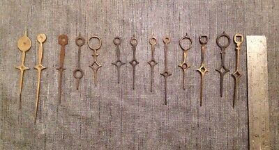 Selection Of Antique LongcaseClock Hands Pairs And Singles All Brass Bar One