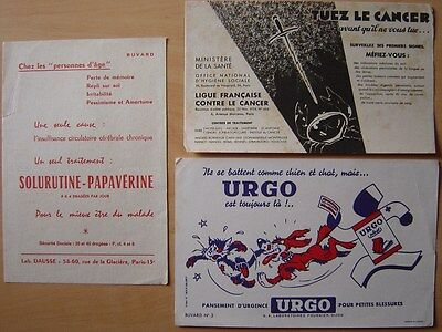 LOT de 3 buvards Thème SANTE PHARMACIE Urgo Solurutine Papavérine Ligue Cancer