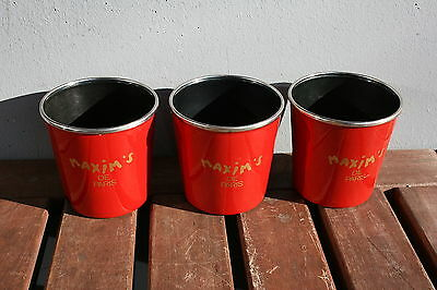 3x MAXIM'S DE PARIS Becher Metall Rot