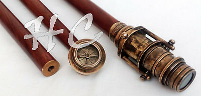 Vintage Nautical Wooden Walking Stick With Hidden Brass Telescope With Compass