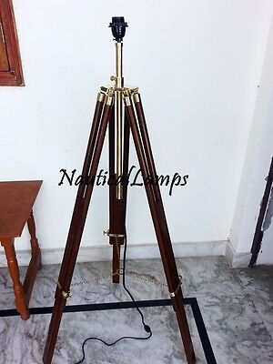 Solid Brass Wooden Tripod Stand Floor Lamp Designer RoseWood Antique Style Decor