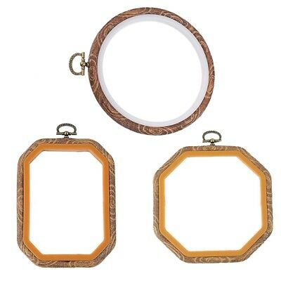 3 PCS Embroidery Hoops Cross Stitch Hoop Bulk Imitated Wood Embroidery Sets L2E4
