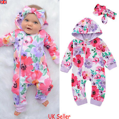 UK Newborn Baby Girls Floral Hooded Romper Bodysuit Jumpsuit Outfit Clothes Set