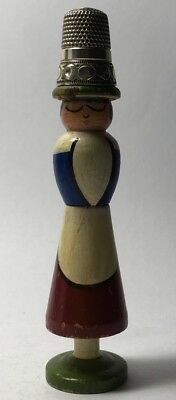 Wooden Figural Needle Case & Thimble Holder - Lady with Hat, Apron , and Skirt