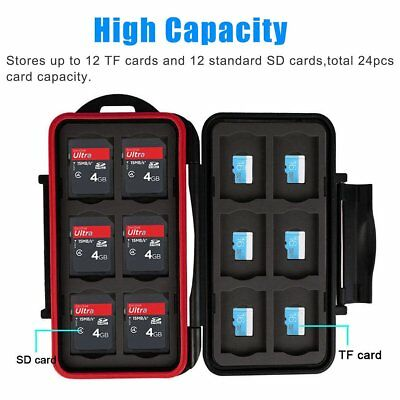 Water-resistant Memory Card Case Storage Holder fits 12 SD+12 Micro SD Cards