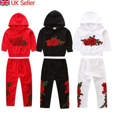 UK Toddler Kids Baby Girls Clothes Hoodie T-shirt Top Pants Outfit Set Tracksuit