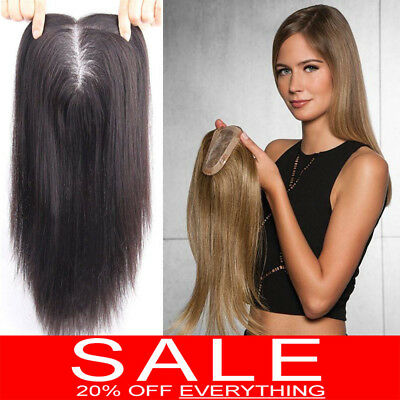 Mono Silk 100% Human Hair Topper Hairpiece Toupees Top Piece For Loss Hair GY128