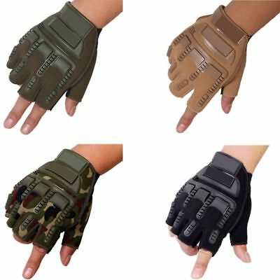 Mens Military Tactical Half Finger Gloves Bicycle Army Hiking Sports Fingerless