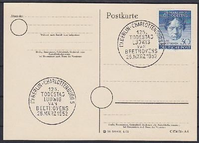 Berlin FDC 87 sauber mit 2x SST Berlin Beethoven 1952 auf Karte, first day