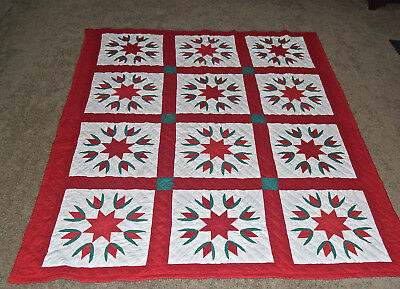 Vintage Red White Star Patdhwork Quilt 70x84