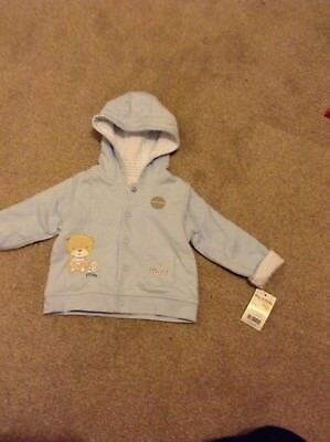 max & millie blue reversible hooded jacket 6-9 months new with tags