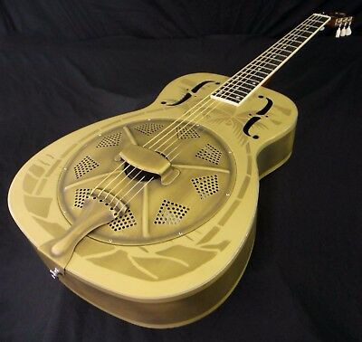 Duolian 'O' Style Resonator Guitar - 'Antique' Brass Body with Hawaiian Graphic