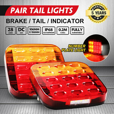 Pair Led Tail Light W/ Number Plate Light 28Led Trailer Truck Caravan Square 12V